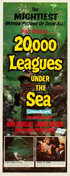 "20,000 Leagues Under the Sea (Buena Vista, 1954). Insert (14"" X 36"").  The magic of Disney meets Jules Verne's 1869 novel in this Oscar-winning adaptation of 20,000 Leagues Under Sea. Captain Nemo is portrayed by James Mason and Kirk Douglas is a castaway rescued by the submarine Nautilus."
