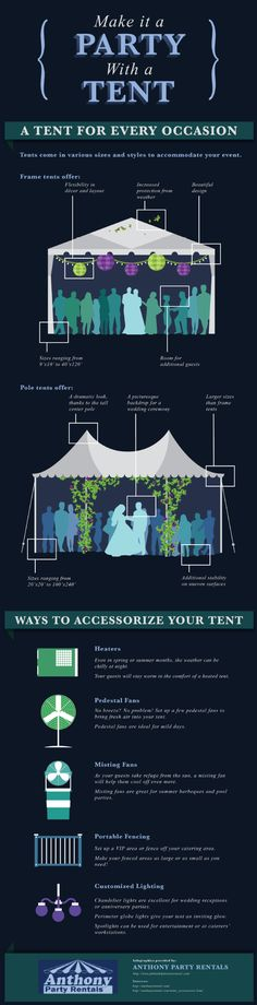 Make It a Party With a Tent: Whether you are planning a bachelor party, a wedding reception, a graduation party, or a classic summer barbeque, a tent can make your event even more memorable! A tent rental protects you and your guests from the sun or rain and gives your party a beautiful focal point.