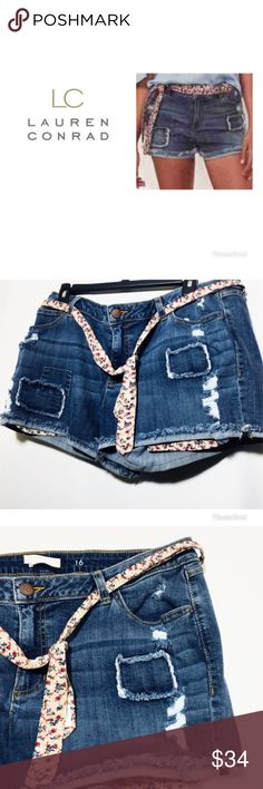 """LC Lauren Conrad Sz 6 Distressed Jean Shorts NWT Super Cute and casual, these Lauren jean shorts  are a summer wardrobe staple. The trendy ripped details and patch back pockets. 5-Pocket. Stretchy denim construction. Coordinating belt included and matching inside pockets.. 3"""" Inseam. Mid rise sits above the hip. Zipper fly. Cotton/Spandex. Size: 6 ( Flat across top of pants 15"""", without stretching) Brand new with tags. LC Lauren Conrad Shorts Jean Shorts"""