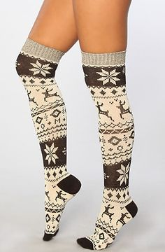 Volcom The Snow Days Knee Hi Sock in Black and White Knee high knit socks with an allover winter pattern; By Volcom I Love Fashion, Autumn Fashion, Winter Wear, Winter Socks, Cozy Socks, Thigh High Socks, Cute Boots, Sock Shoes, Leggings