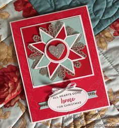 Christmas Quilt, Hearts Come Home, Foil Snowflakes, Quilt Builder & Stitched Shapes Framelits - all from Stampin' Up!