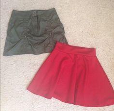 Mini Skirt Bundle Lot Of 2 Juniors Sz Med Red Skater Olive Green Form Fitting B1  | eBay