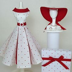 Handmade Vintage Barbie/Silkstone Clothes by Roxy-Red Dot Pleated Dress  11-pcs