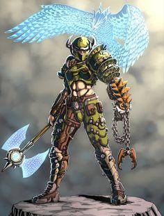 Tap to see the meme Fantasy Weapons, Fantasy Warrior, Fantasy Art, Character Bank, Character Design, Goblin, Doom Demons, Gender Bender Anime, Doom Game