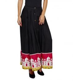 Jalebe trendy printed black skirt for women INDTJBL017