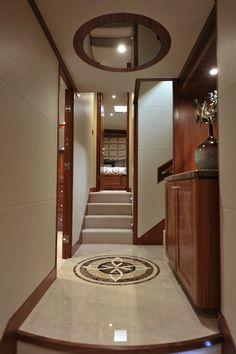 Ocean Alexander 90-Lower Foyer-Custom Yacht Interior Design-Destry Darr Designs