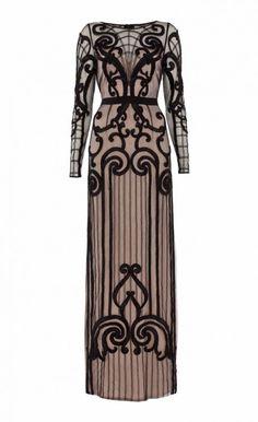 Long Catroux Dress #black #nude #embroidery #ribbon #embellshment #intricate #detail #silk #TemperleyLondon