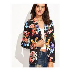 SheIn(sheinside) Flower Print Single Button Pockets Blazer ($23) ❤ liked on Polyvore featuring outerwear, jackets, blazers, multi, blazer jacket, floral print jacket, collar jacket, fitted blazer jacket and single button blazer