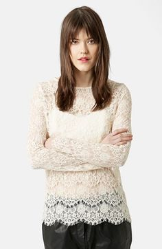 Topshop Long Sleeve Lace Top available at #Nordstrom