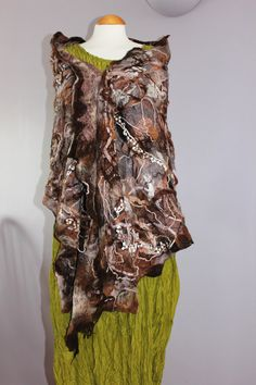 Nuno felted silk & wool shawl collage shawl  brown by Angelab5705