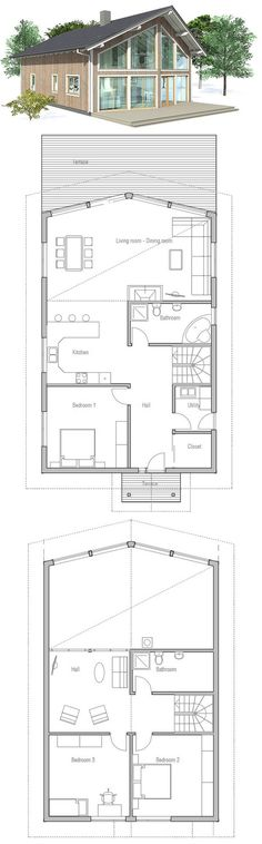 Small house plan to deep lot. High vaulted ceiling in the living room. TV area on the second floor, three bedrooms.