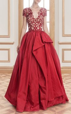 Embroidered Illusion Ball Gown by Reem Acra for Preorder on Moda Operandi