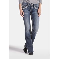 maurices Vigoss Chelsea Pocket Boot Cut Jeans With Sequins ($84) ❤ liked on Polyvore featuring jeans, dark sandblast, mid-rise jeans, boot cut jeans, pocket jeans, sequin jeans and mid rise bootcut jeans