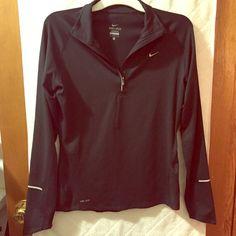 Black Nike Dry Fit Quarter Zip Workout Shirt- Med. Black Nike Dry Fit Quarter Zip Long Sleeve Workout Shirt- Size Medium Nike Tops Muscle Tees