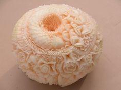 3 hr melon masterpiece, fruit carving by Master Carver Wan Hertz.