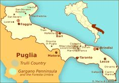 Puglia Maps - Travel Planning Maps of the Puglia Region of Italy: San Marco La Catola is a province of Foggia Bari, Planning Maps, Trip Planning, Italy Vacation, Italy Travel, Rome Travel, Italy Map, Verona Italy, Venice Italy