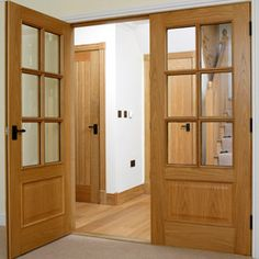 Traditional real oak veneered internal door with six clear bevelled safety glass panels with moulded beading. Safety Glass, Internal Doors, Hallway Decorating, Wood Design, Glass Panels, News Design, Traditional, Furniture, Home Decor