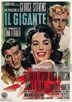 Giant (Warner Brothers, Italian 4 - Foglio X James Dean, Elizabeth Taylor - Available at 2014 July 19 - 20 Vintage Movie. Cinema Posters, Film Posters, Elizabeth Taylor Movies, Jane Withers, Carroll Baker, The Rainmaker, Top Film, Rock Hudson, Lone Ranger