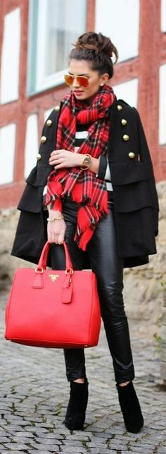 Street style fashion / karen cox. Red Prada handbag, plaid scarf & black winter coat combo, winter street style
