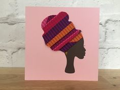 This item is unavailable Birthday Cards To Print, Man Crafts, Fabric Cards, African Head Wraps, African Fabric, African Women, Deco, Printing On Fabric, Greeting Cards