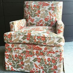 Family heirloom alert:  Whimsical little skirted armchair complete!  What a cutie!  @denicolasbr @amystrother #denicolas #upholstery #antiques #antiquerestoration #vintage #vintagerestoration #fabrics #shoplocal #smallbiz #buylocal #sustainable #1010Nic