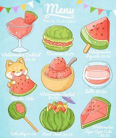Cute Food Drawings, Cute Animal Drawings Kawaii, Arte Do Kawaii, Kawaii Art, Kawaii Stickers, Cute Stickers, Cute Food Art, Chibi Food, Japon Illustration