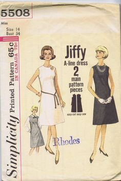 "1 PC DRESS VINTAGE SEWING PATTERN SIMPLICITY 5508 SIZE 14 BUST 34 HIP 36"" UNCUT"