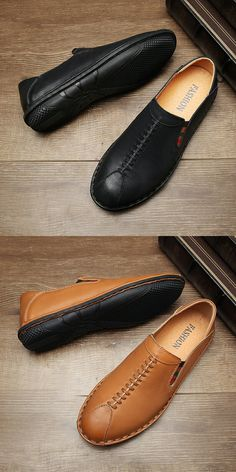 $28.98 <Click to buy> Men Casual Driving Shoes Genuine Cow Leather Loafers