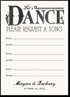 Wedding Enclosure Cards ~ great way to get 'Dance Song' ideas from your guests.
