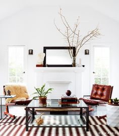Bright and clean living room with leather chair