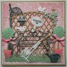 Card by DT member Tineke with many Creatables and Craftables CR1263 Trellis Panel and Collectable COL1346 Garden by Marianne Design