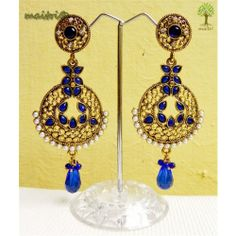 Online Shopping for Antique Earring -   Blue Gold | Earrings | Unique Indian Products by Maitri Crafts .  AME 46   Blue Gold  Length : 9 cm, Breadth at the center : 4 cm  maitri_crafts@yahoo.com