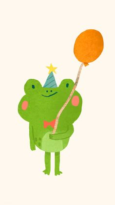 Frog Wallpaper, Happy Birthday Art, Frog Illustration, Frog Drawing, Frog Art, Cute Frogs, Frog And Toad, Cute Cartoon Wallpapers, Illustrations And Posters