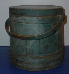 Antique Hingham Firkin Wooden Primitive Sugar Bucket Old Blue Paint Signed 2xs