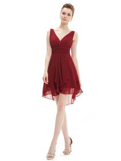 Ruffles Padded V-neck Red High Low Bridesmaid Dress
