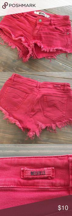 Brandy Melville denim shorts Brandy Melville pink cutoff denim shorts Brandy Melville Shorts Jean Shorts