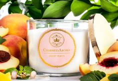 Velvet Peach Scented Candles - $25.00 | Find it at Charmed Aroma! Link Below: http://charmedaroma.com/products/velvet-peach-scented-candle