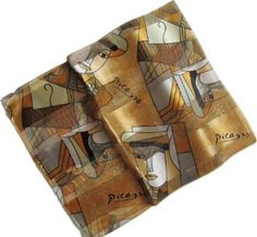 Gold Abstract Picasso Print Oblong Scarf /Sash Belt / Headband Sheer Delights. $7.99