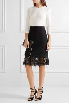 Cream and black wool-crepe, black lace Concealed hook and zip fastening at back 93% wool, 5% nylon, 2% elastane; trim: 62% cotton, 20% nylon, 18% rayon; lining1: 100% silk; lining2: 89% silk, 11% Lycra Dry clean Made in Italy