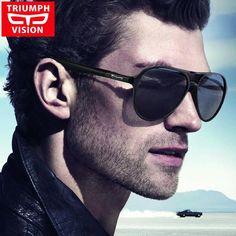 bd0ad210d8 TRIUMPH VISION Aviator Men Sunglasses Black Matt Plastic Pilot Shades For  Men Driving Oculos Male