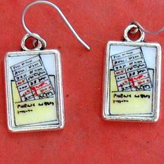 Librarian Check Out Card Earrings