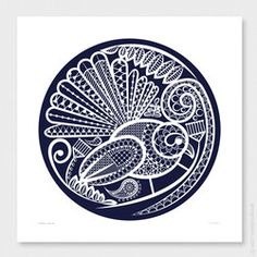 Open edition 'Fantail's Lace Two' [April 2020 - original pen drawing August 2018]. My love of New Zealand inspired this artwork, and I wanted to celebrate our country and its beautiful flora and fauna. New Zealand is the fabric of my being.   'Fantail's Lace' is a navy, digitally drawn New Zealand contemporary artwork depicting a stylised Fantail (pīwakawaka) bird amongst beautiful flora.        Number in edition:  open edition (unlimited) and digitally named and signed by Anna Mollekin…