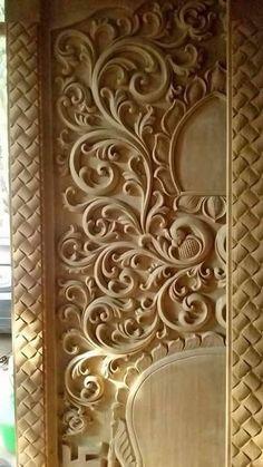 Single Door Design, Front Door Design Wood, Door Gate Design, Wooden Door Design, Main Door Design, Wooden Decor, Wood Design, Cnc Wood Carving, Wood Carving Designs