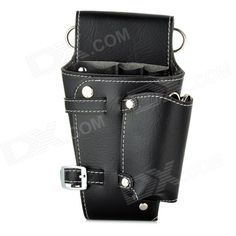Brand: No; Color: Black; Material: Artificial leather; Quantity: 1; Functions: Hold many kinds of hair tools; Features: Detachable belt with clips, adjusta the length as you need, can be a waist bag or a shoulder bag; Packing List: 1 x Hair scissor bag 1 x Belt; http://j.mp/1naVyrj