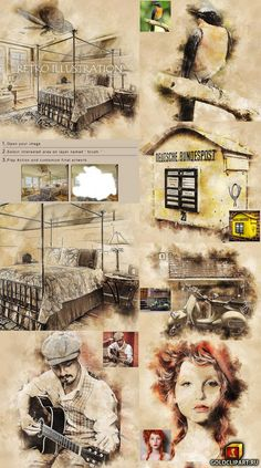 Defiant Photoshop Tips Awesome Photoshop Effects, Photoshop Actions, Shops, Retro Illustration, Vintage World Maps, Graphic Design, Watercolor, Artist, Sketch