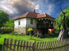 Serbia,tipical old house in serbian country Serbia Travel, Country Fences, Village Photos, Vernacular Architecture, Drawing Architecture, Cabin In The Woods, Novi Sad, Belgrade, Serbian
