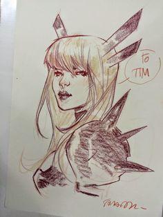Illyana Rasputin by Sara Pichelli Comic Book Artists, Comic Artist, Sara Pichelli, Rasputin, Marvel Comics Art, Art Drawings Sketches, Art Sketchbook, Cool Artwork, Manga