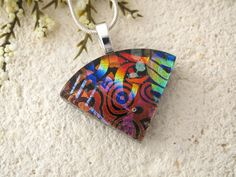 Small Wedge Necklace, Dichroic Jewelry, Red Blue Black Necklace, Dichroic  Pendant, Fused Glass Jewelry, Silver or Black Chain 080115p101 by ccvalenzo on Etsy