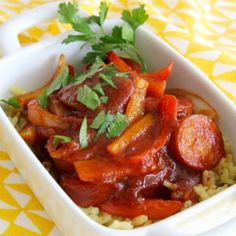 BBQ Hotdogs on Rice Recipe Rice Recipes For Kids, Allrecipes, Thai Red Curry, Kids Meals, Hot Dogs, Bbq, Dinner, Cooking, Ethnic Recipes