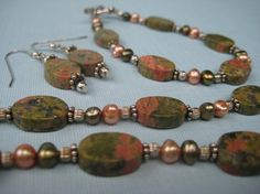 Unakite and Freshwater Pearls Necklace Bracelet and by DLRjewelry